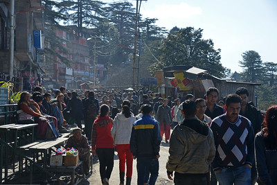 Crowded streets of Shimla. Shimla is the capital city of the Indian state of Himachal Pradesh, located in northern India at an elevation of 7,200 ft. Due to its weather and view it attracts many tourists. It is also the former capital of the British Raj.