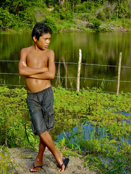 We visited a native villiage in Brazil and this kid followed us around where every we were.  He was one of the chief's sons.
