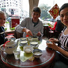American visitors Leigh Douglas and Randy Warren have Ginger Milk and other desserts with Susan Wei.