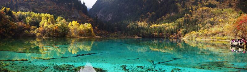 Autumn Colors at Jiuzhai Gou Park at Multi-colored Lake