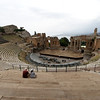 Taormina - a view of part of the large Greek Theatre, showing the stage setup