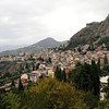 Taormina - a view of the city from the Amphitheatre.