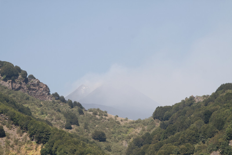 Mt. Etna - although it can't be seen clearly through the smoke or fog, this is Mt. Etna which is the most active volcano in Europe.