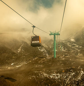 Into the mists - the cable car on the way up Mount Etna