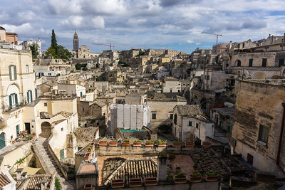 Notice all the steps at the left which is our hotel.  Also note the crane and scaffolding in the background in the upper, flat area of Matera.