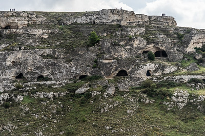 Neolithic caves across the ravine from Matera Sassi