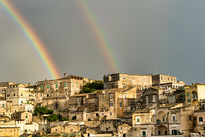 The double rainbow seen on my first afternoon in Matera.