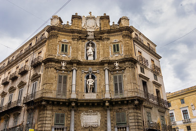 One of the Baroque buildings in Quattro Canti, officially known as Piazza Vigliena, is a Baroque square in Palermo. It dates from  1608-1620[.  It is at the crossing of the two principal streets in Palermo, the Via Maqueda and the Corso Vittorio Emanuele.
