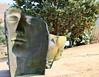 Modern sculptures dot ruin landscape
