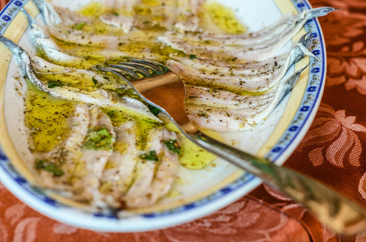 Fresh sardines marinated in light vinegar