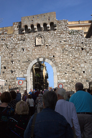 The walled medieval city of Taormina