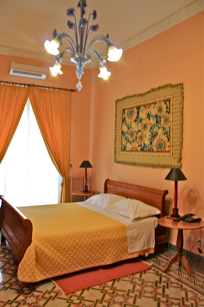 Our room at Palazzo Pantaleo... nice Murano glass blue chandelier