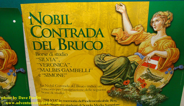 Posters in the Contrada del Bruco in Siena, Italy