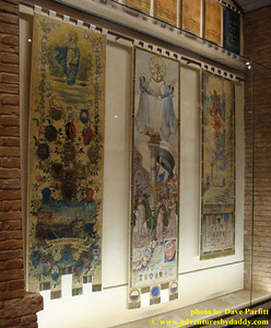 Palio Banners won by the Contrada del Bruco in Siena, Italy
