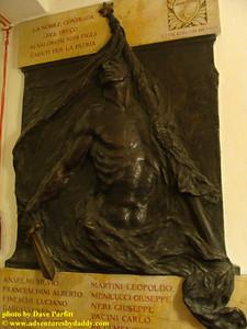 Sculpture in Chapel of the Contrada del Bruco in Siena, Italy