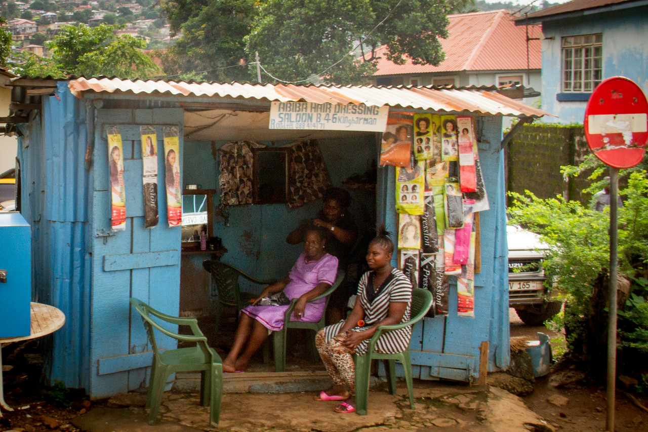 This is what a smaller hair salon looks like in Freetown.