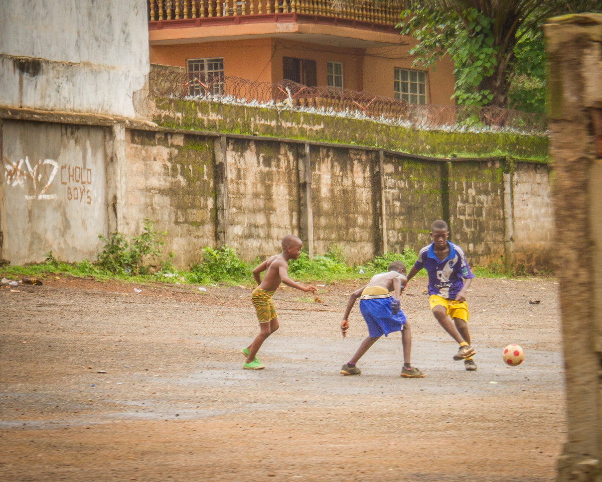 We drove by this open area multiple times and every time we did, there was a game of football taking place.