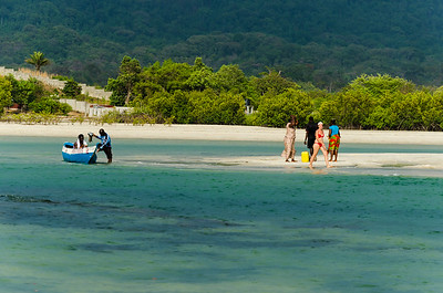 No.2 beach. Beautiful.  wooden boat(Pampa) carries people across the beach to a small island of sand.