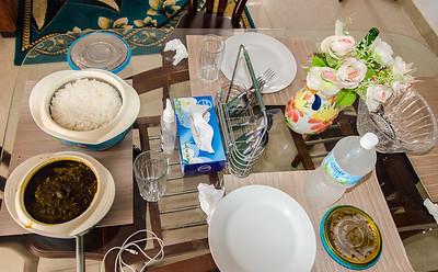 A good African lunch setup. Rice en plasas.