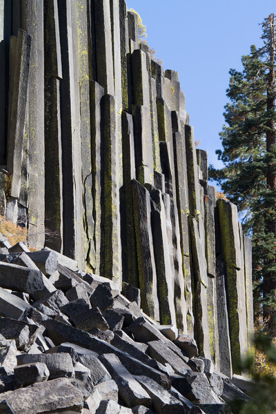 Devil's postpile, next to Mammoth Lakes. These mostly hexagonal columns formed when lava flows cooled.
