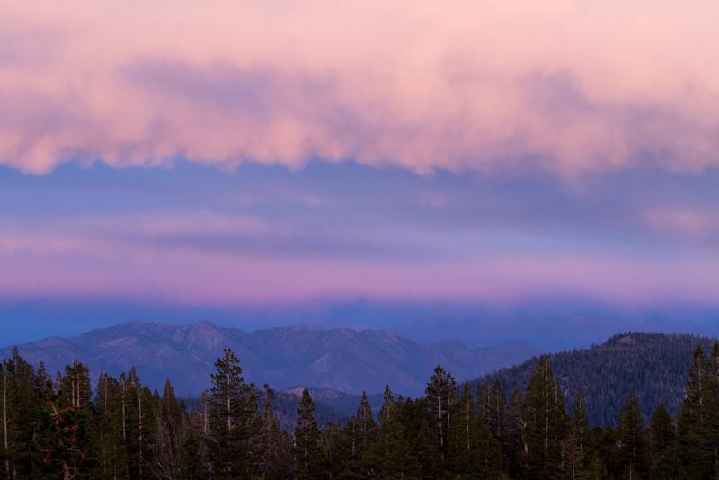 Sunset glow over White mountains.