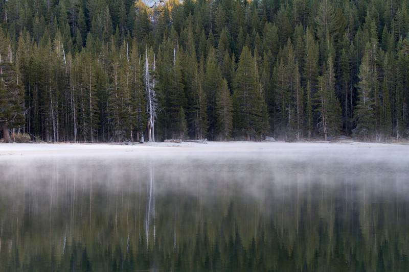 We ventured into the eastern part of Yosemite Park via the Tioga road, and stopped at Tioga Lake to see the mist rising.