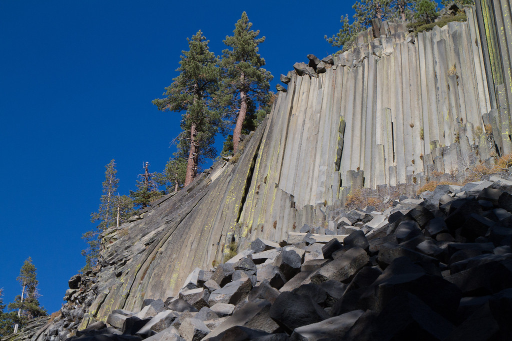 Devil's Postpile. The part on the left shows some upheaval of the ground