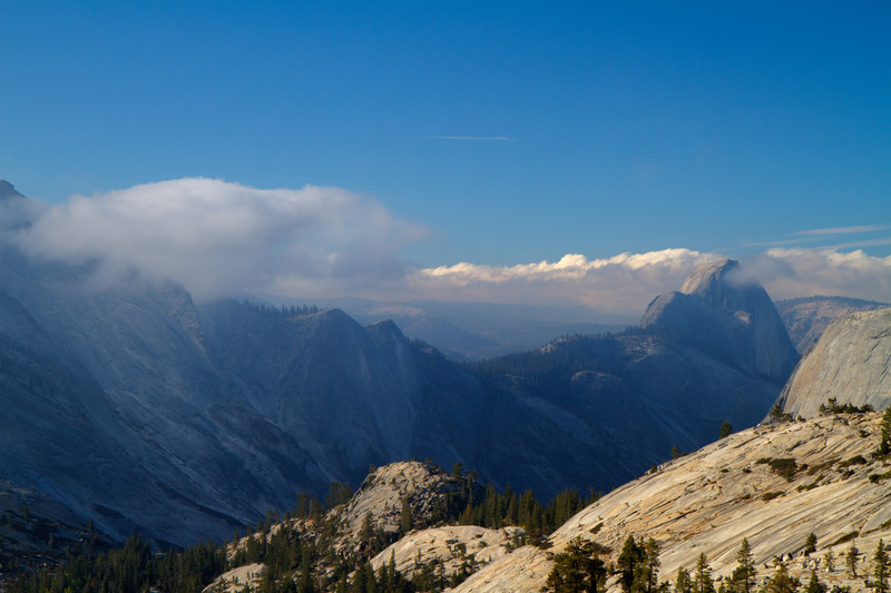 The back of El Capitan rock in Yosemite, from a turnout on the Tioga road.