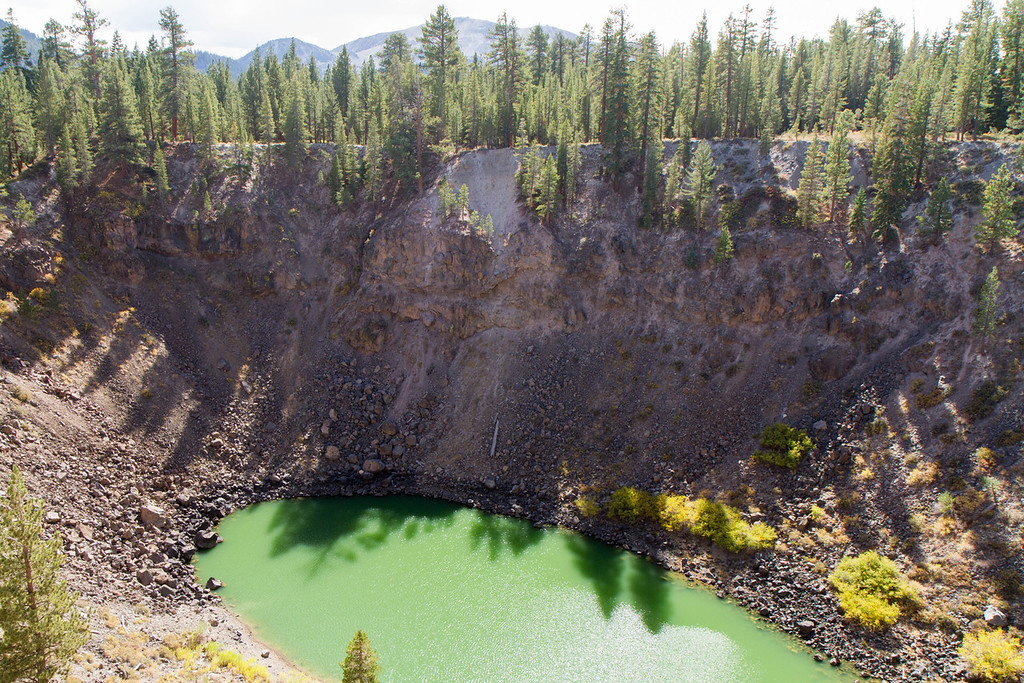 outside of Mammoth Lakes, the Inyo craters were formed when hot magma reached underground water, which caused a flash steam explosion that blew a hole in the earth.