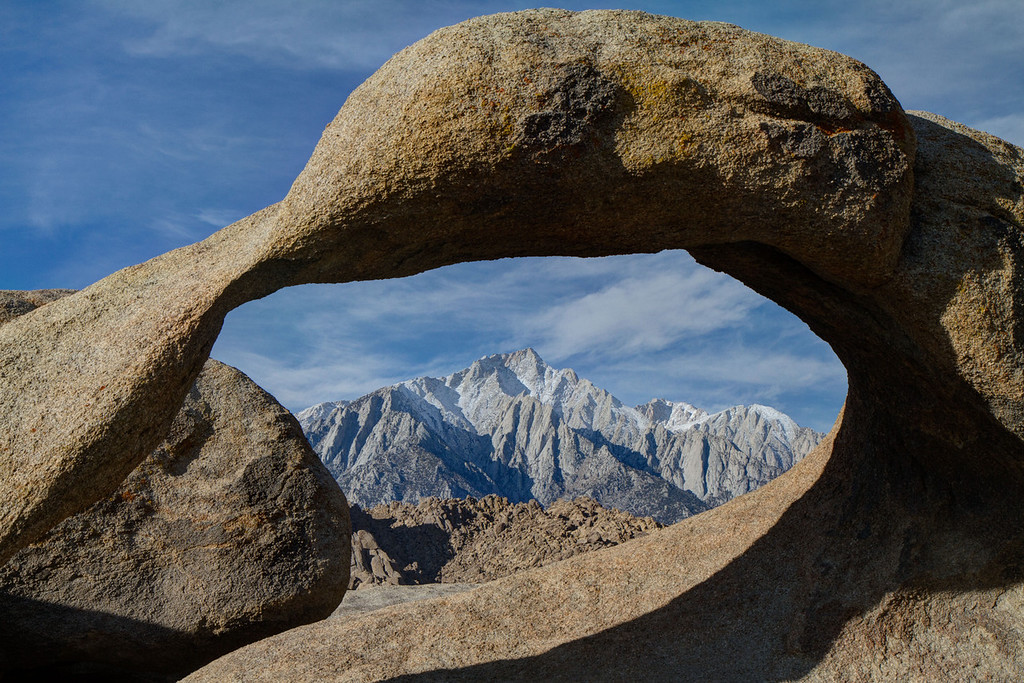 On the way home we stopped at the Alabama Hills near Lone Pine, site of the filming of hundreds of movies. Here you see Mt Whitney, tallest peak in continental US, framed through a natural arch