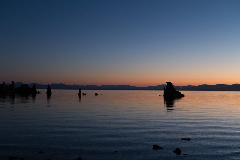 Early morning dawn on Mono lake, showing some of the Tufas.