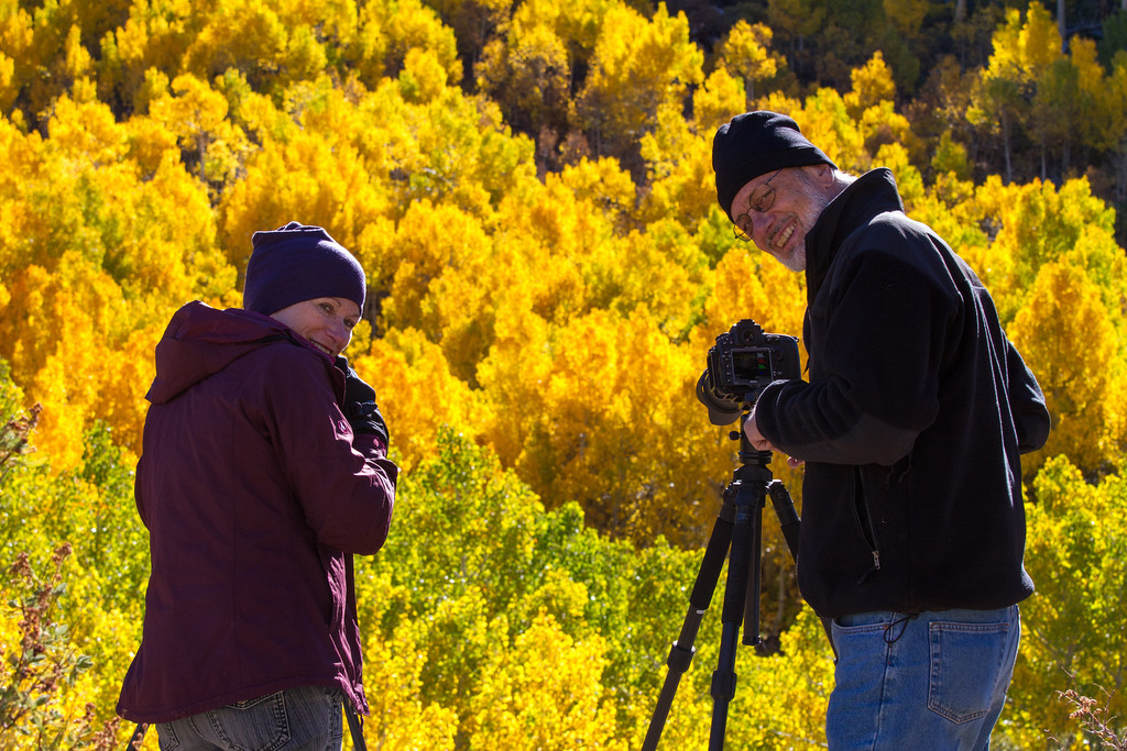 Friends and travel mates Suzy and Ken shooting some of the Aspens
