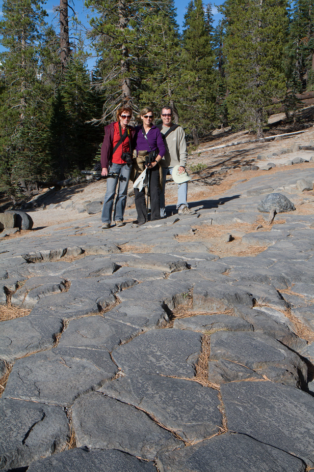 Suzy, Barbara and myself on top of the hexagonal (mostly- there are other shapes present also) columns at the top of the Devil's post pile.