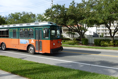 The free trolley that goes up and down Siesta Key Beach.