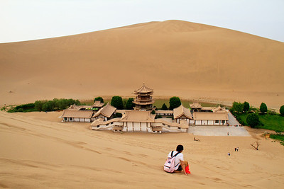 The Singing Mountains  and Crescent Moon Lake at Dunhuang