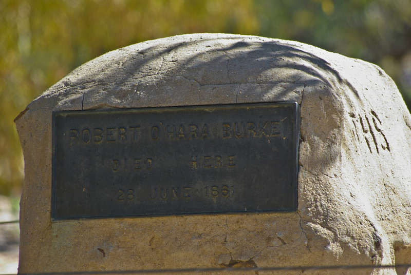 The gravesite of one of Australia's most famous early explorers, Robert Burke, who successfully led an expedition across the continent from Melbourne to the Gulf of Carpentaria. Sadly he and six other members of the expedition perished on the return leg.