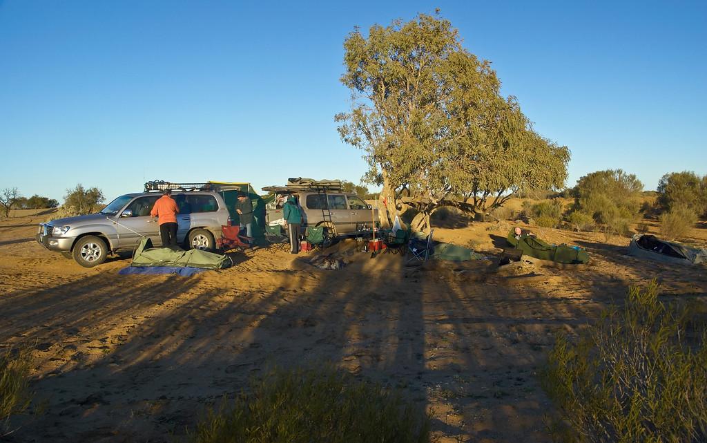 Setting Camp near Lake Eyre