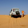 Playing in the sand pit. Simpson Desert.