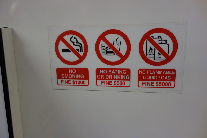 Warning signs on the MRT (Metro)