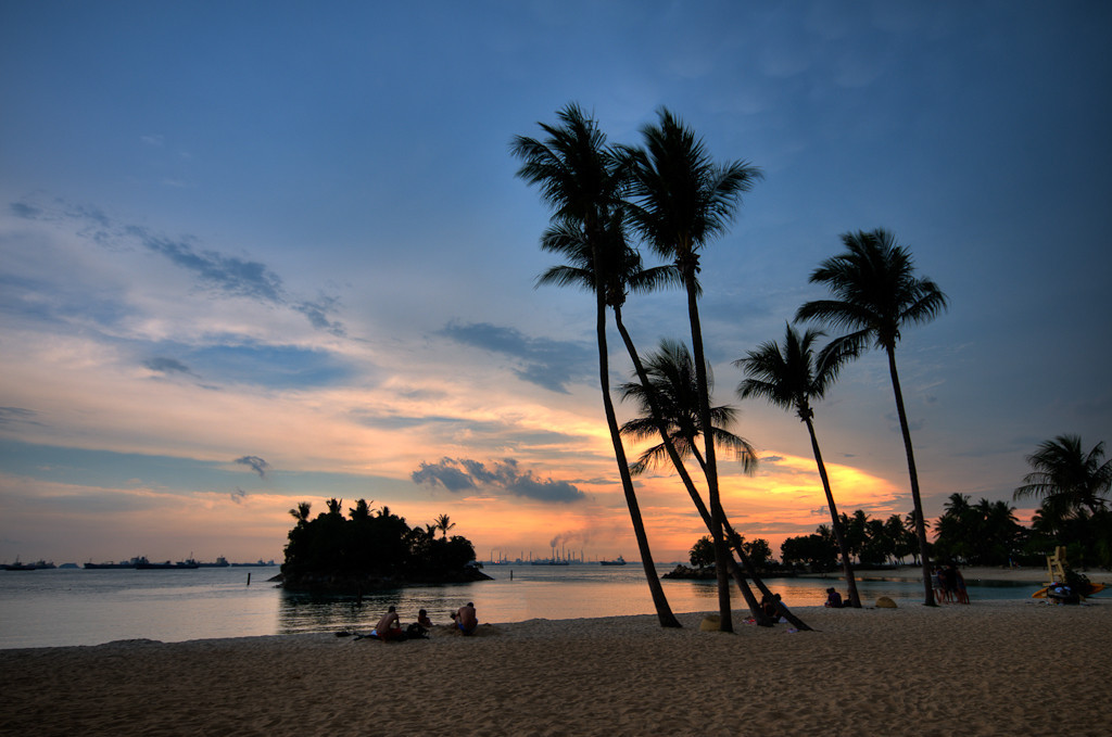 Sentosa beach sunset