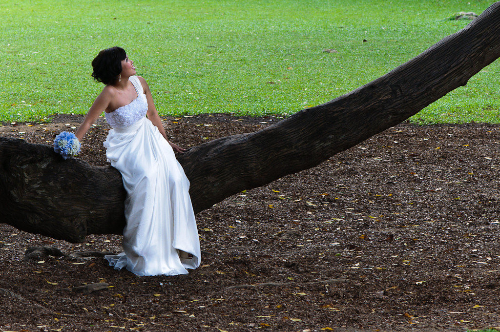 Bride at photoshoot in Botanic garden