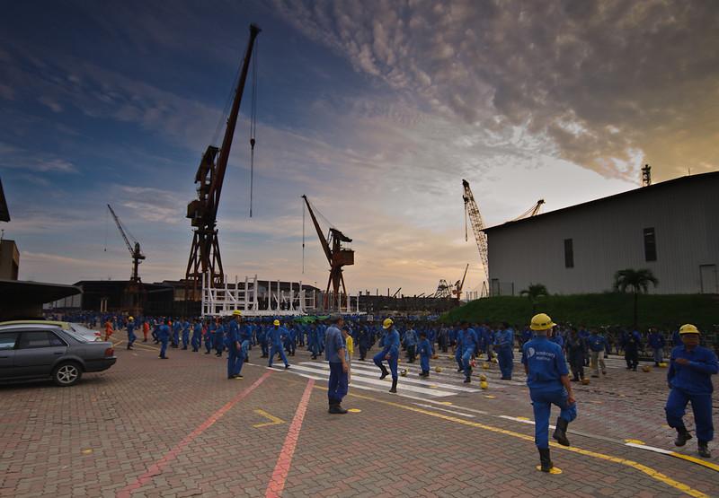 Morning gym at Jurong Shipyard