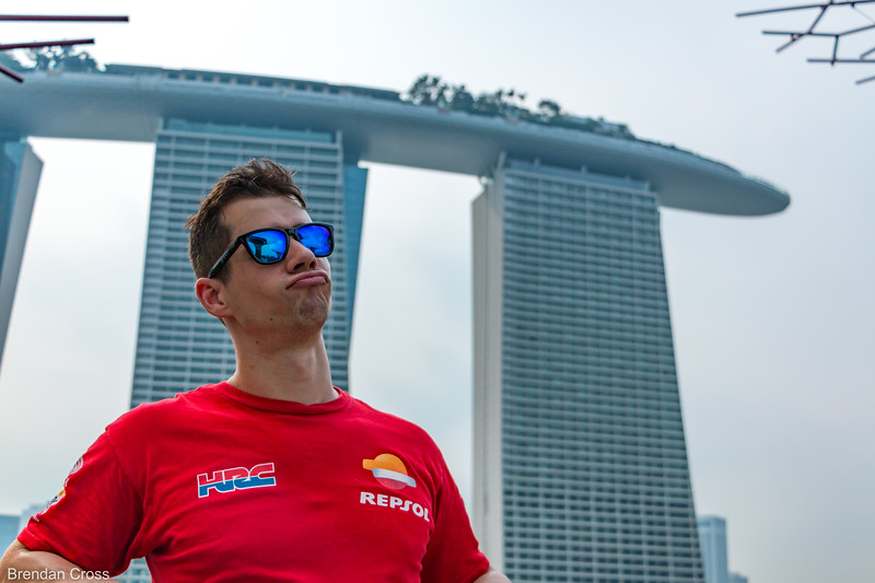 """There was an ad that was playing non-stop in the Marina Bay Sands that featured David Beckham. He had this smug look on his face as he turned to the left with the Marina Bay Sands towers behind him. We tried, unsuccessfully to emulate that throughout our time in Singapore. Then we tried mixing Trump's typical pucked up lips into the post. <br /> I guess it didn't really work - it's one of those """"you had to have been there"""" things.<br /> Below is a link to the ad - in ultra uber widescreen:<br /> <a href=""""https://www.youtube.com/watch?v=7tvDpjs-mxQ"""">https://www.youtube.com/watch?v=7tvDpjs-mxQ</a>"""