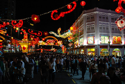 Chinese New Year being celebrated in Chinatown, Singapore. Feb'2005.