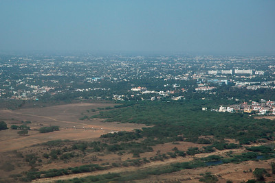 Ariel view of Chennai enroute to Singapore from Chennai, TN, India. Feb'2005. Seen in picture is Babuji Memorial Ashram (BMA) of Shri Ram Chandra Mission.