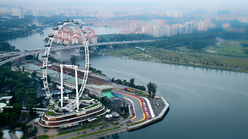 Singapore Ferris Wheel and GP Race track from Marina Bay Sands Casino lookout