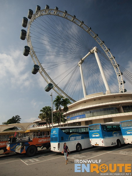 The gigantic Singapore Flyer as we approach