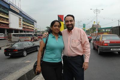 07060218 - Anu & Suchit at the Seremban Bus Terminal in Malaysia