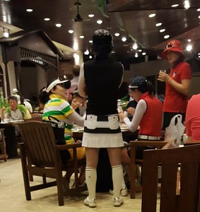 Japanese golfers at breakfast