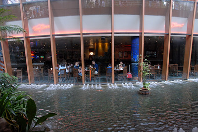 "The Fountain of Wealth (Chinese: 财富之泉), Singapore.  The Guinness Book of Records in 1998 listed this as the largest fountain in the world. Located in one of Singapore's largest shopping malls, Suntec City, at regular intervals, the fountain is turned off and visitors are invited to walk around a mini fountain at the centre of the fountain's base for good luck. At night, the fountain is the setting for laser performances, as well as ""live"" song and laser message dedications."